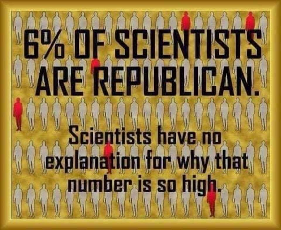 Memes 6% of scientist are Republicans