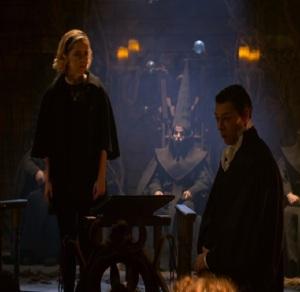 Father Blackwood vs Sabrina Spellman trial chilling adventures of Sabrina Kiernan Shipka Richard Coyle