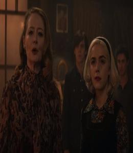 Zelda Spellman and Sabrina Morningstar chilling adventures of Sabrina Kiernan Shipka Miranda Otto