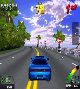 Blue car racing Cruis'n World Nintendo Midway arcade