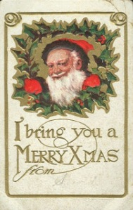 Christmas card from Santa claus Saint nick