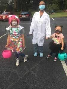 Family Halloween costumes veterinarian dog and cat mom and daughters Spartanburg South Carolina