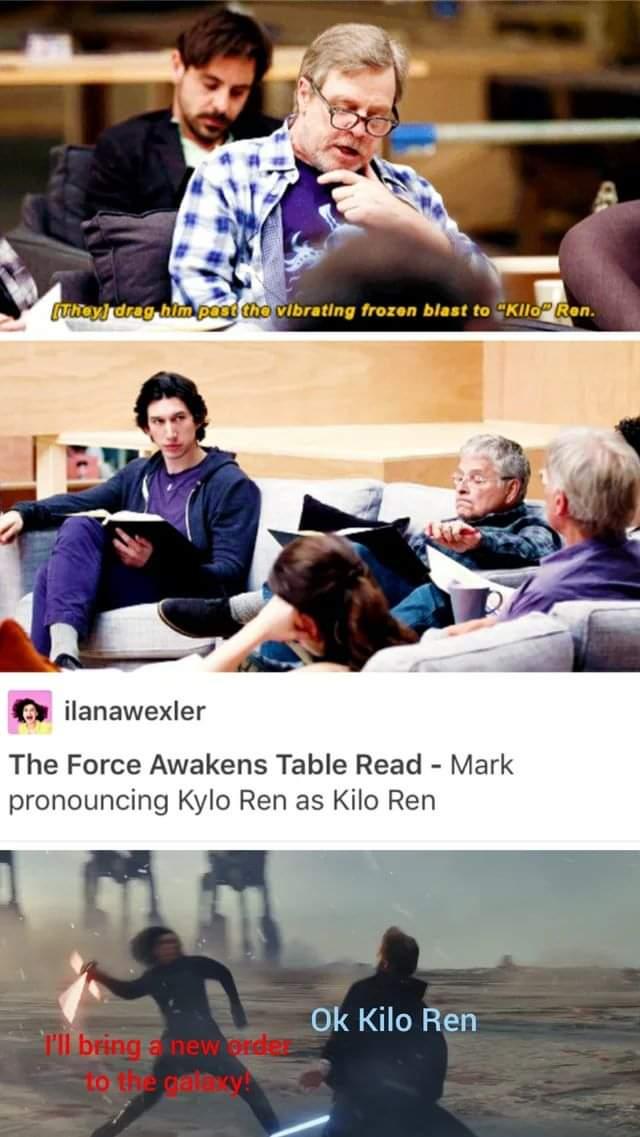 Memes Star Wars the last Jedi mark Hamill Luke skywalker Adam driver Kylo Ren