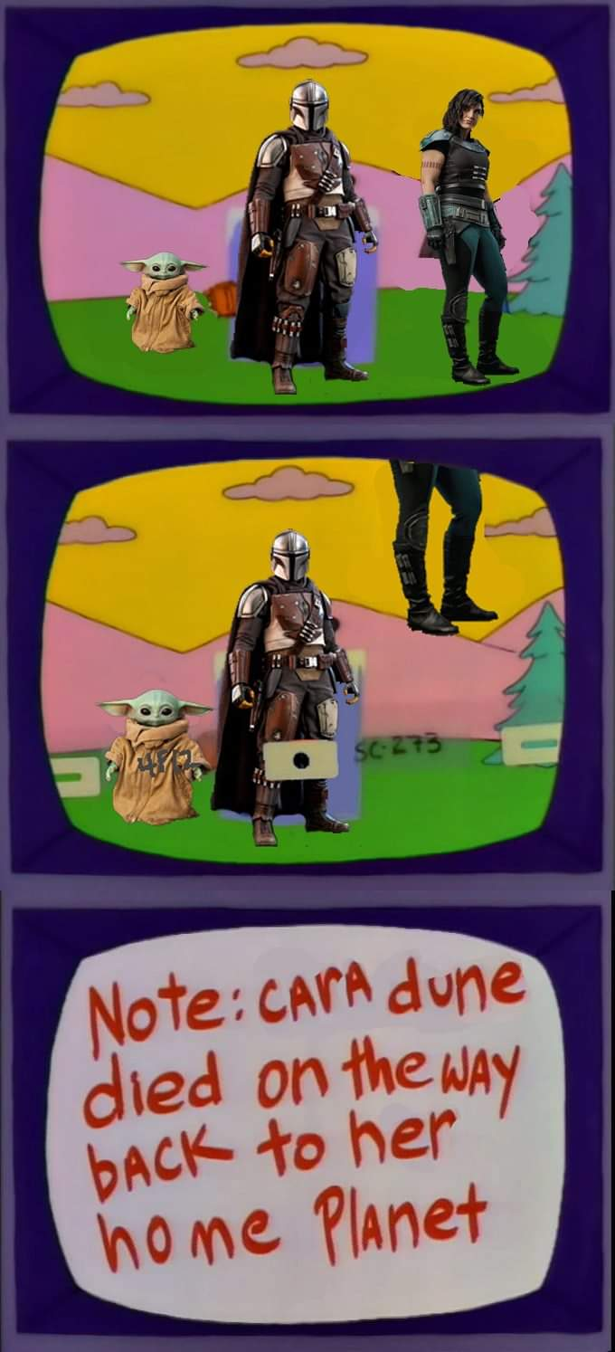 Memes The Mandalorian cara dune died on the way back to her home planet