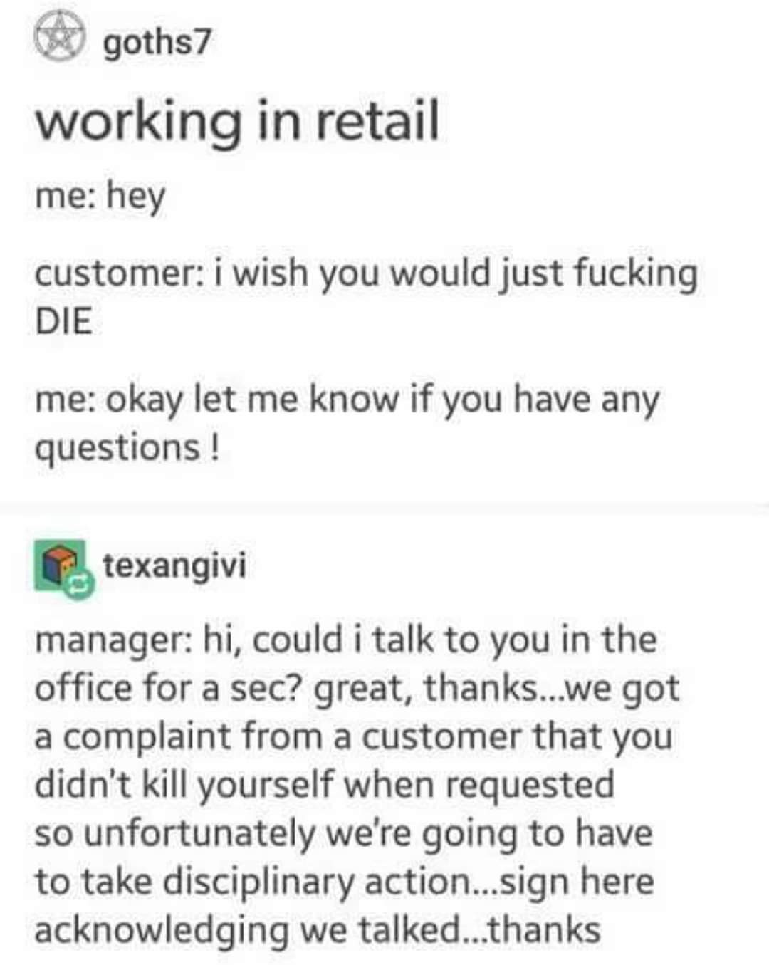 Memes Working in retail