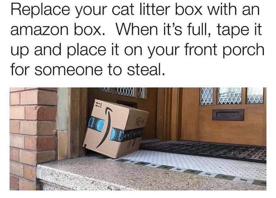 Memes Amazon box full of kitty litter