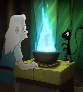 Luci and bean try to revive elfo Disenchantment