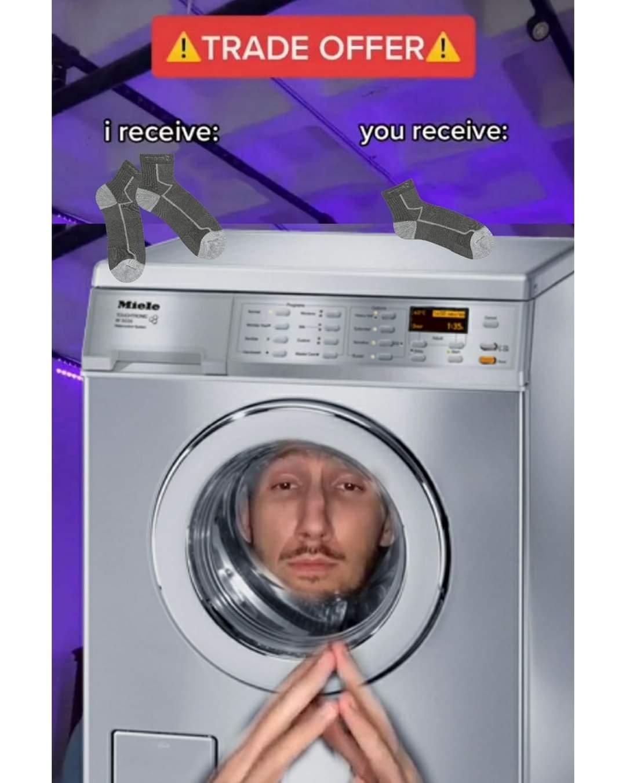 Memes Laundry machine eating socks