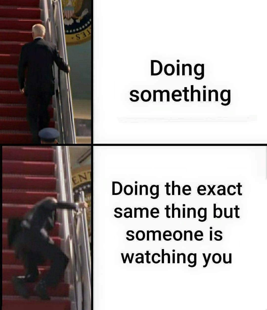Memes Joe Biden tripping on stairs