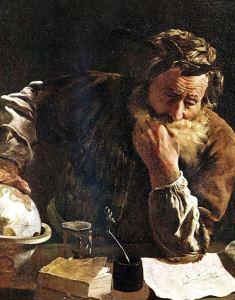 Ancient philosopher pondering
