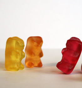 Gummy bears orange red and yellow