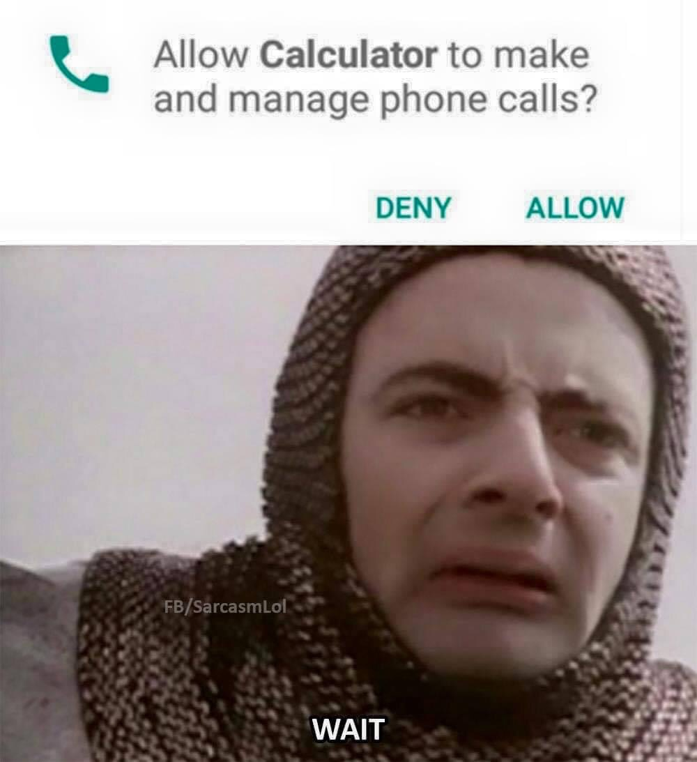 Memes Calculator asking for my permission to make phone calls