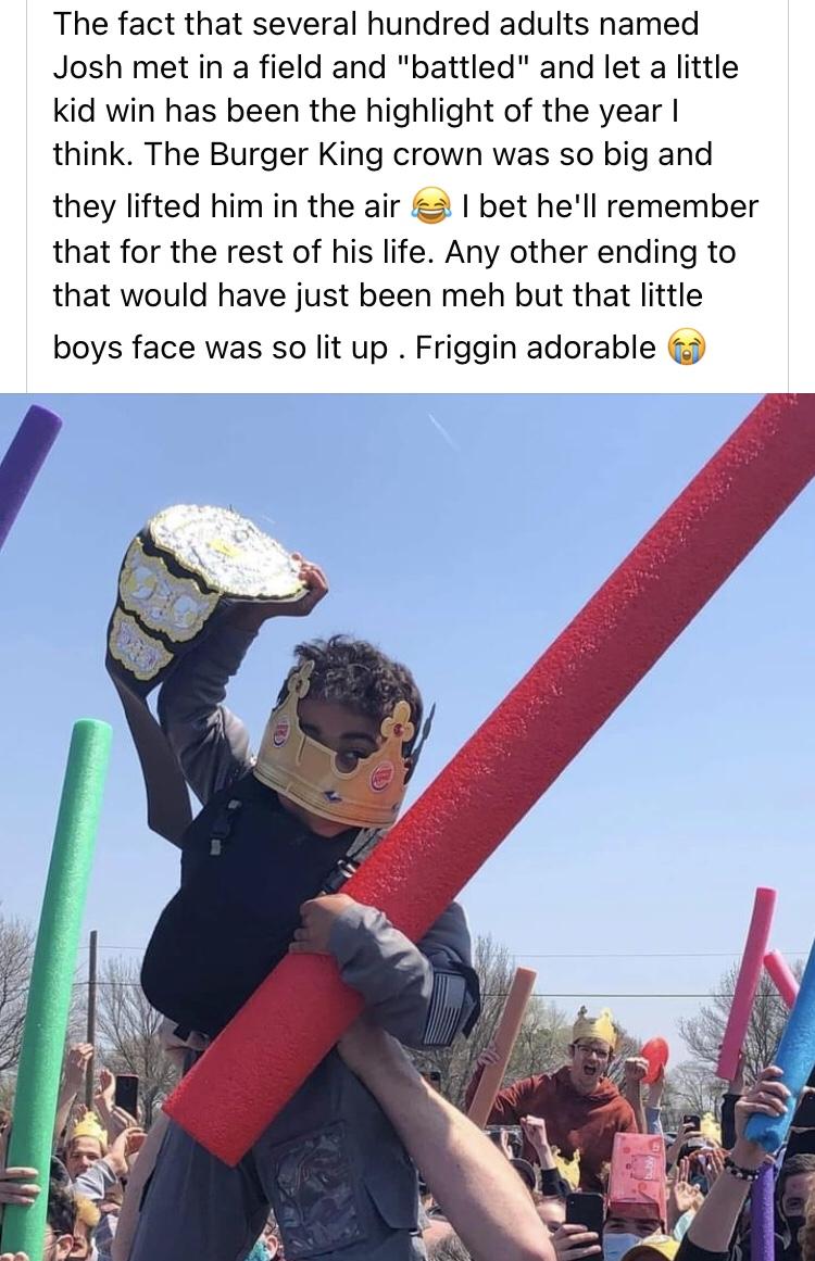 Memes Little Josh Burger King crown Josh fight
