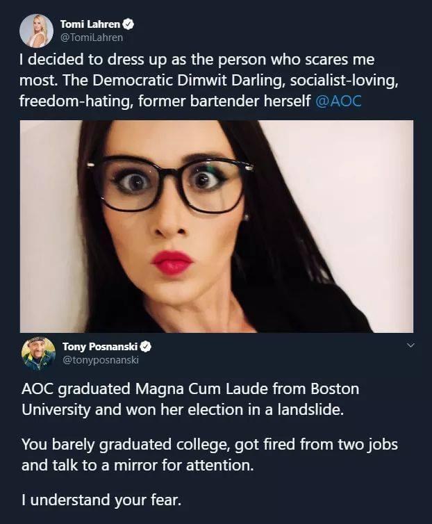 Memes Alexandria Ocasio Cortez AOC versus Tomi Lauren