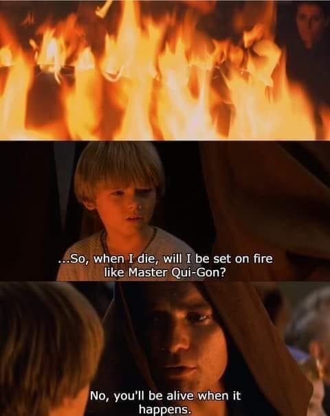 Memes Anakin Skywalker burning in lava