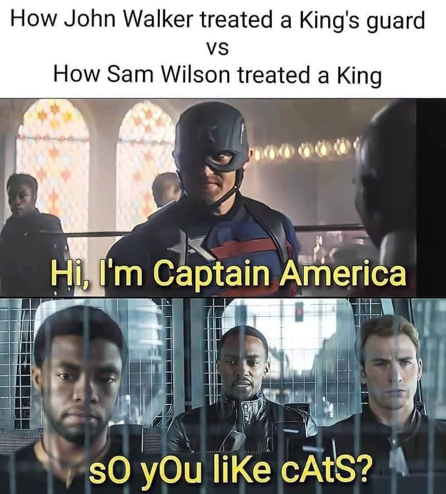 Memes John walker versus Sam Wilson captain America