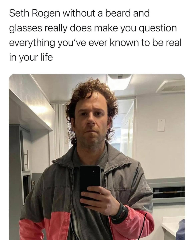 Memes Seth Rogen without a beard