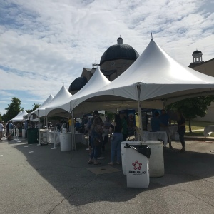 Greenville Greek Festival tents and the Greek Orthodox Church of Greenville South Carolina
