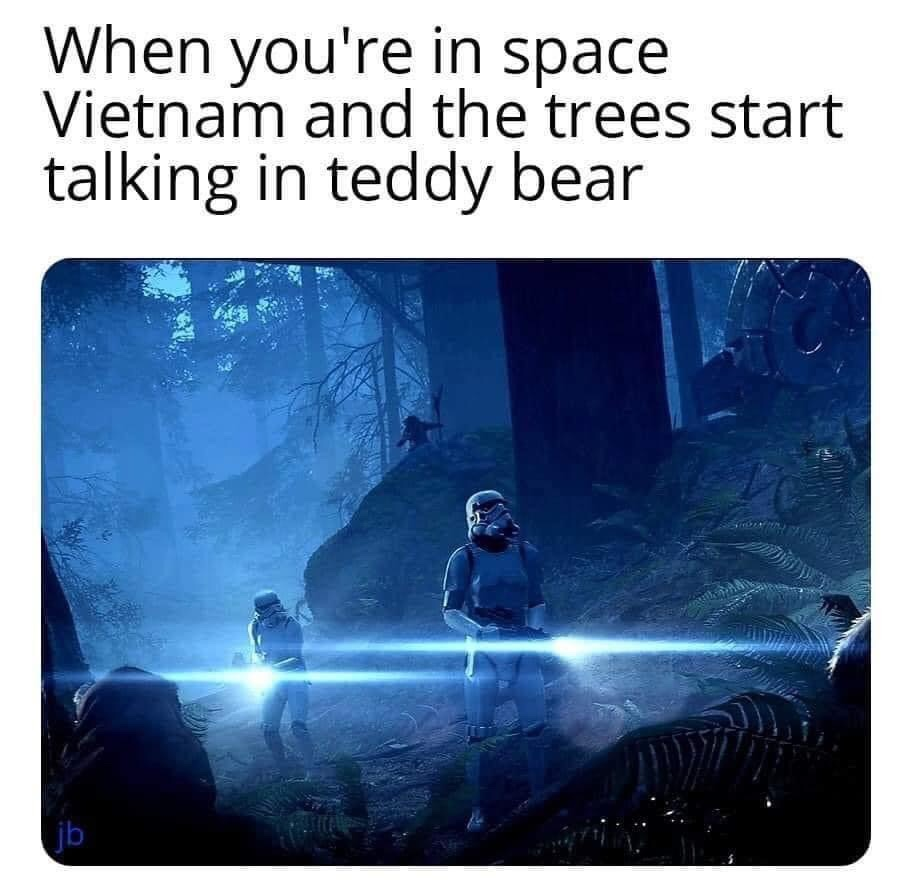 Memes Star Wars return of the Jedi Ewok versus storm troopers