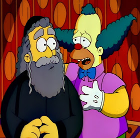 Krusty the klown and father rabbi the Simpsons