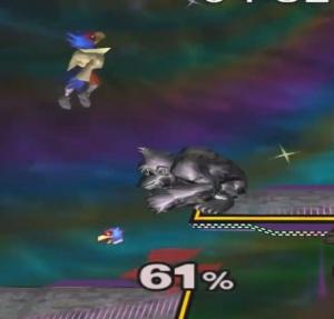 Metal donkey Kong Vs Falco Super Smash Bros melee Nintendo Gamecube