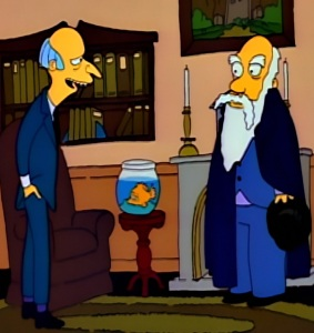 C Montgomery burns runs for governor blinky the fish and Charles Darwin