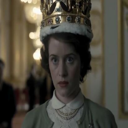Queen Elizabeth II tries on crown the crown Claire Foy Netflix