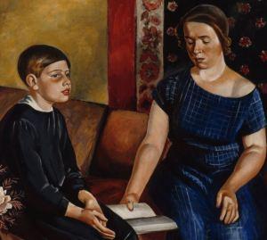 Russian mother teaching son homeschooling