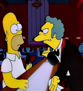 Treehouse of horror the shining parody moe bartender and Homer Simpson the Simpsons