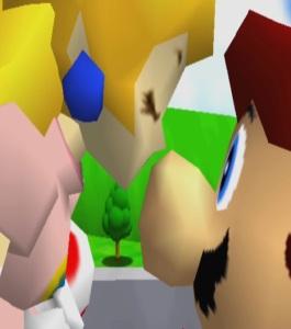 Princess peach kisses Mario on the nose super Mario 64 Nintendo 64 N64