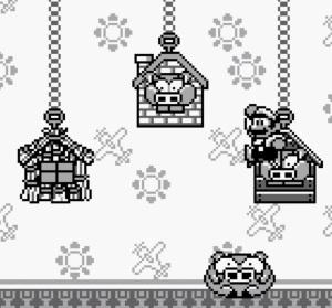 Three Little Pigheads boss battle Super Mario Land 2 Nintendo Gameboy