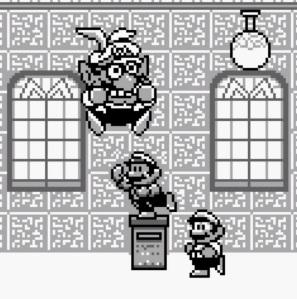 Mario vs Wario final boss battle Super Mario Land 2 Nintendo Gameboy