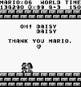 Princess Daisy kisses Mario super Mario Land Nintendo Gameboy