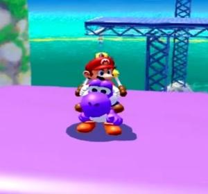 Mario riding purple Yoshi Super Mario Sunshine Nintendo GameCube