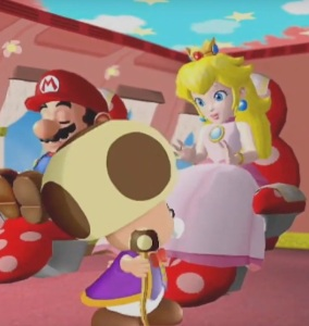 Princess Peach and Mario enjoying plane trip Super Mario sunshine opening Nintendo GameCube
