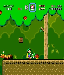 Luigi and yoshi eating enemies super Mario World snes super Nintendo