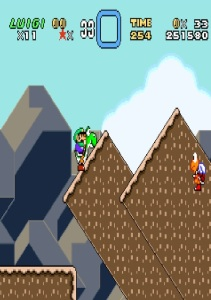 Little Luigi riding Yoshi super Mario World snes super Nintendo
