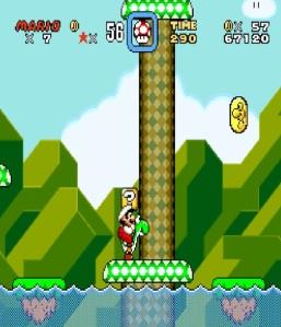 Fire Mario and green Yoshi super Mario World snes super Nintendo
