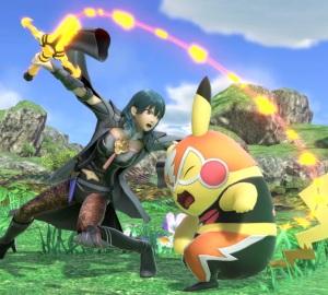 Female Byleth attacking Pikachu Libre super Smash Bros ultimate Nintendo Switch