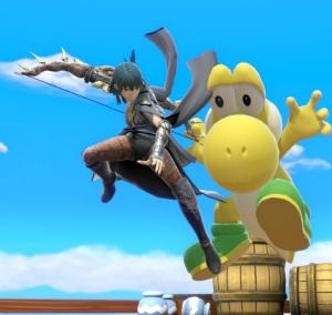Female Byleth kicking yellow Yoshi super Smash Bros ultimate Nintendo Switch