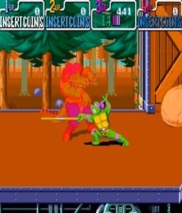 Donatello vs crocodile TMNT: Turtles in Time arcade Konami