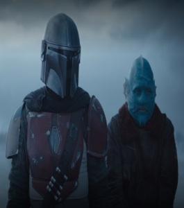 Mando and blue guy on ice planet The Mandalorian