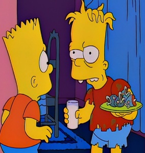Evil twin Hugo confronts Bart Simpson treehouse of Horror Halloween the Simpsons