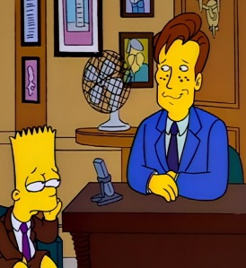 Bart Simpson as the I didn't do it boy Conan O'Brien talk show the Simpsons