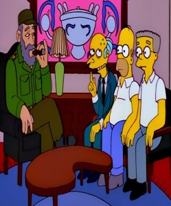 Fidel Castro meets Homer Simpson c Montgomery burns and mr Smithers the Simpsons