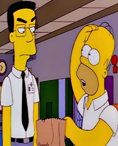 Homer Simpson meets frank grimes and eats his lunch the Simpsons