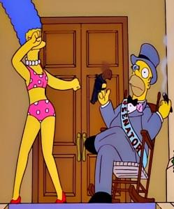 Homer Simpson imagines himself as a United States senator