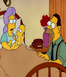 The Simpsons Mona Simpson giving birth to Homer while Abe Simpson sits