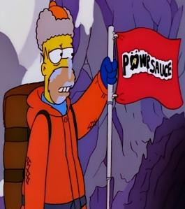 Homer Simpson mountain climbing powersauce bars the Simpsons