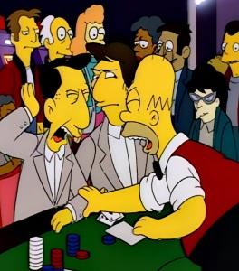 Homer Simpson as blackjack dealer Mr Burns casino the Simpsons